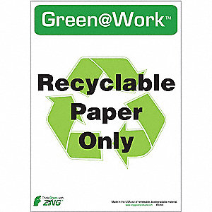 "Self Adhesive Eco-Polyester Recycle Label, 7"" Height, 5"" Width"