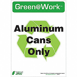 SIGN GREEN AT WORK CANS ONLY 14X10