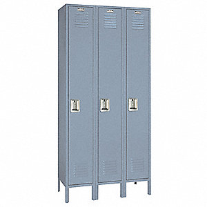 "Dove Gray Wardrobe Locker, (3) Wide, (1) Tier Openings: 3, 36"" W X 18"" D X 78"" H"