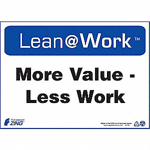"Safety Incentive and Motivational, Lean@Work, Plastic, 10"" x 14"", Surface"