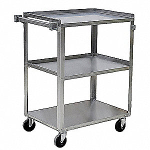"27-5/8""L x 16-3/4""W x 33-1/2""H Silver Stainless Steel Welded Utility Cart, 500 lb. Load Capacity, Nu"