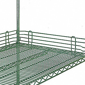 "60"" x 4"" Steel Shelf Side/Back Ledge, Green&#x3b; PK2"