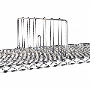 "1"" x 18"" x 8"" Steel Shelf Divider, Silver&#x3b; PK6"