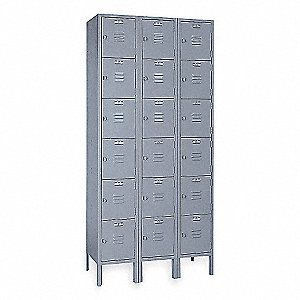 Box Locker,Louvered,3 Wide, 6 Tier,Gray