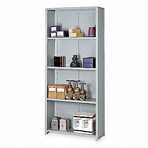 "Starter Closed Metal Shelving, 36""W x 24""D x 84""H, 8000 lb. Load Cap., 5 Shelves, Dove Gray"
