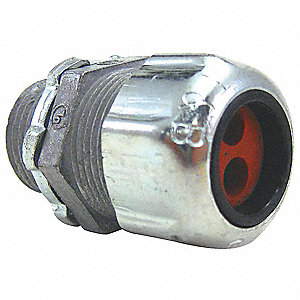 "Steel Liquid Tight Cord Connector, Conduit Size: 3/4"", 1-3/4"" Length"