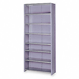 "Starter Closed Metal Shelving, 36""W x 18""D x 84""H, 8000 lb. Load Cap., 8 Shelves, Dove Gray"