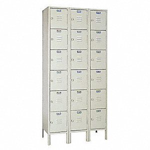 Box Locker,Louvered,3 Wide, 6 Tier,Putty