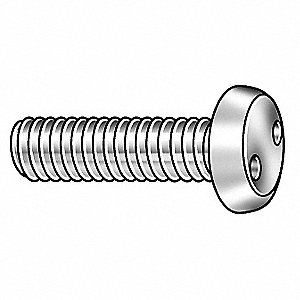 "#12-24 Tamper Resistant Screw, 18-8 Stainless Steel, 3/4"" L, 25 PK"