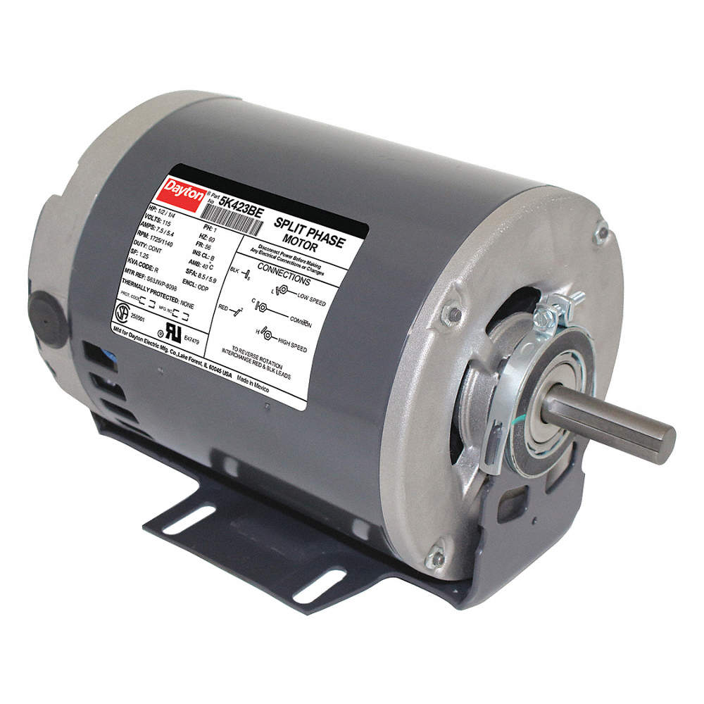 1//2HP RPM 1725//1140 SPLIT PH MOTOR DAYTON 1//4HP 5K423BE ENCL ODP