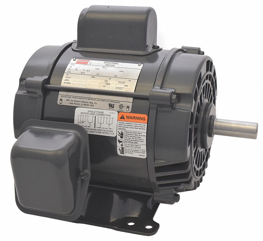 DAYTON 1 HP General Purpose Motor,Capacitor-Start,1750 Nameplate  RPM,Voltage 115/230,Frame 182 - 5K480 5K480 - Grainger