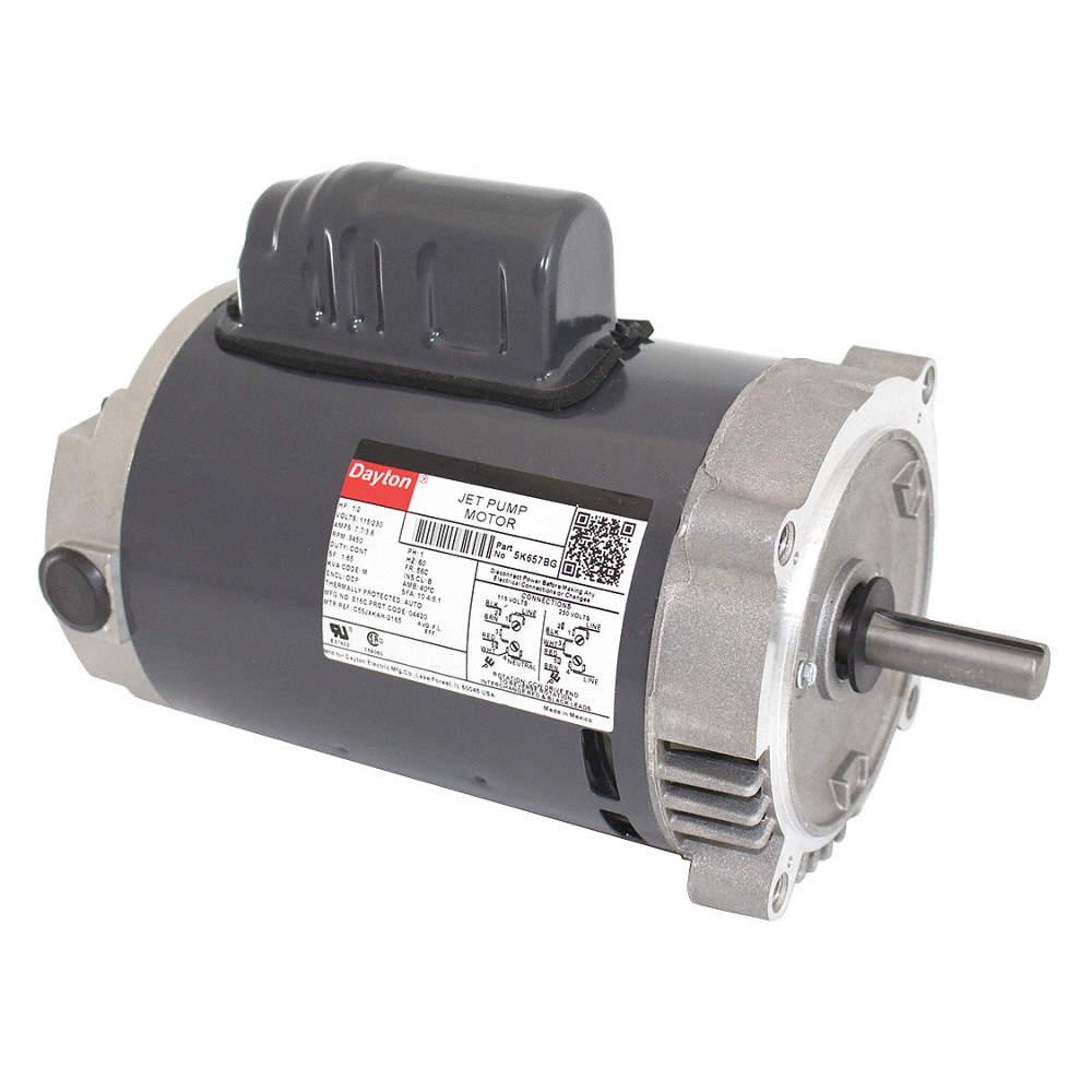 1/2 HP Jet Pump Motor, Capacitor-Start, 3450 Nameplate RPM, 115/230 Dayton Pump Wiring Diagram on