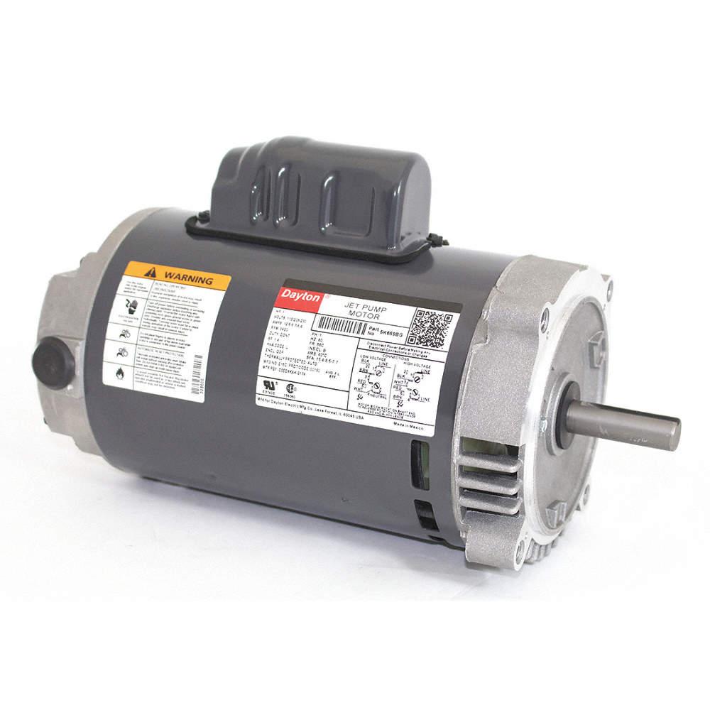 DAYTON 1 HP Jet Pump Motor, Capacitor-Start, 3450 Nameplate RPM,  115/208-230 Voltage, 56C Frame - 5K659|5K659 - GraingerGrainger
