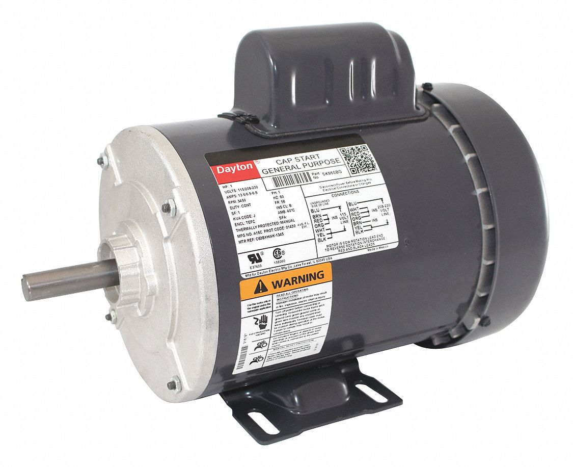 1 HP General Purpose Motor,Capacitor-Start,3450 Nameplate RPM,Voltage  115/208-230,Frame 56