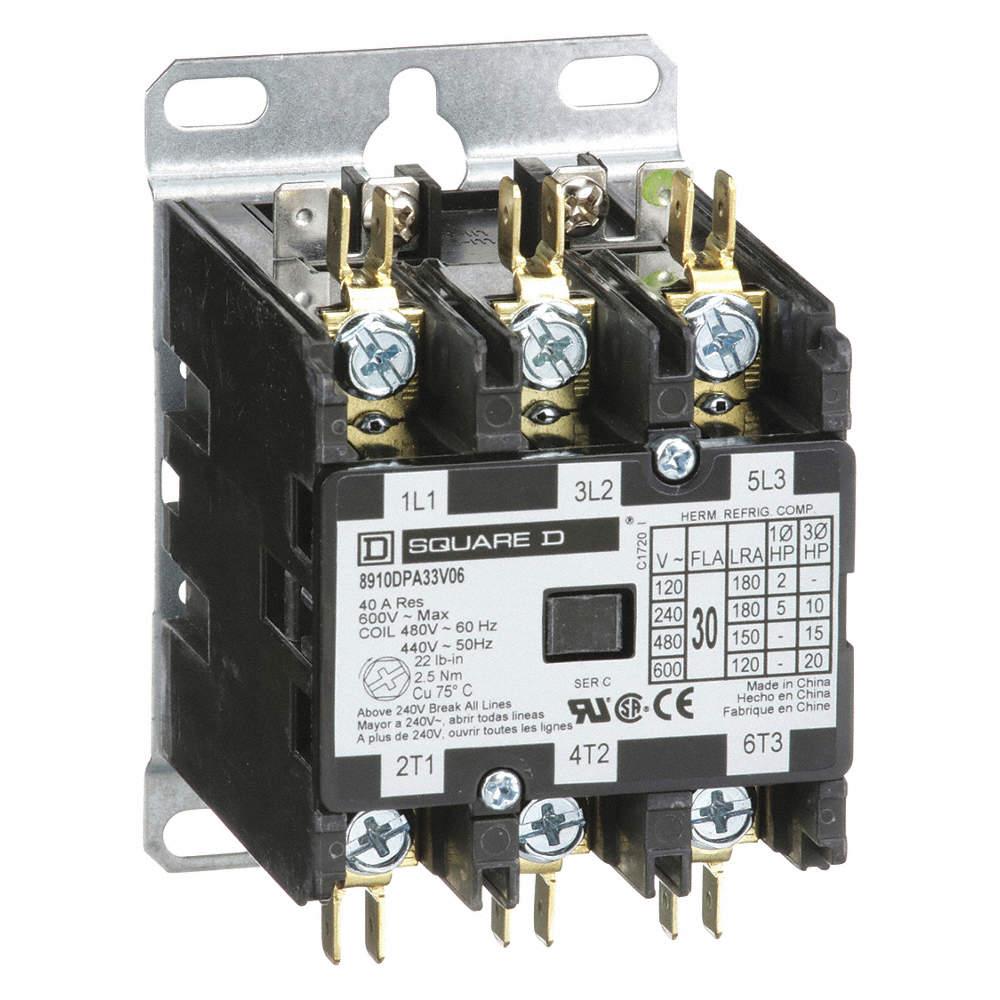 square d 480vac definite purpose contactor; no. of poles 3, 30 full load  amps-inductive - 5kak2|8910dpa33v06 - grainger  grainger