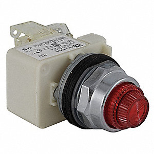 Push to Test Pilot Light Complete, 30mm, 120VAC Voltage, Lamp Type: LED