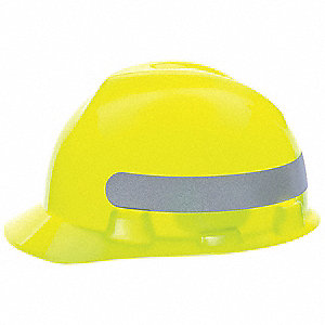 Front Brim Hard Hat, 4 pt. Ratchet Suspension, Hi-Visibility Yellow/Green with Silver Stripe, Hat Si