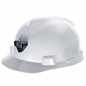 Front Brim Hard Hat, 4 pt. Pinlock Suspension, White, Hat Size: 6-1/2 to 8