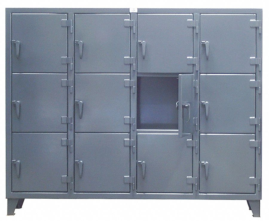 Dark Gray Box Locker, (3) Tier, (4) Wide , Openings: 12, 82 in W X 18 in D X 68 in H