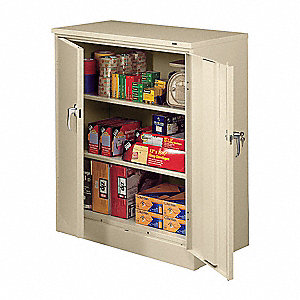 "Storage Cabinet, Champagne/Putty, 42"" Overall Height, Assembled"