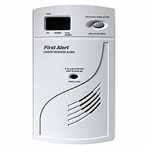 Carbon Monoxide Alarm with 85dB @ 10 ft., Horn Audible Alert&#x3b; 120VAC, 9V