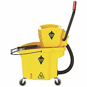 Mop Bucket and Wringer,8-3/4 gal.,Yellow