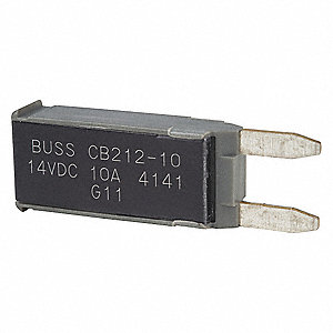 CB212 Series Automotive Circuit Breaker, Plug In Mounting, 10 Amps, Blade Terminal Connection