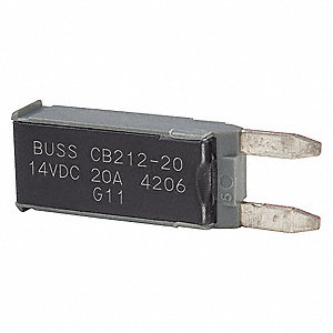 CB212 Series Automotive Circuit Breaker, Plug In Mounting, 20 Amps, Blade Terminal Connection