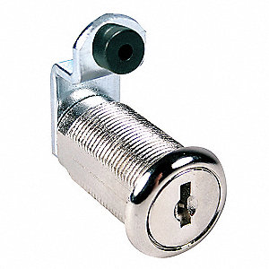 Alike-Keyed Standard Keyed Cam Lock Key # C415A, For Door Thickness (In.): 1-1/8, Bright Nickel