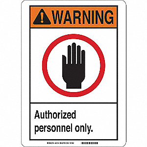 Warning Sign,10 x 7 In.,Plastic