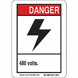"Electrical Hazard, Danger, Plastic, 14"" x 10"", With Mounting Holes, Not Retroreflective"