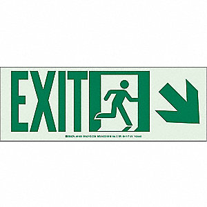 Exit Sign,5 x 14In,GRN/WHT,Exit,ENG,SURF
