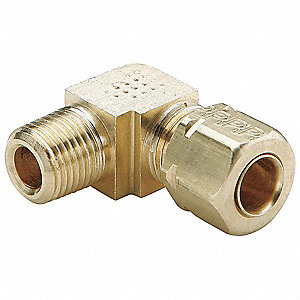 "Male Elbow, 90°, 3/8"" Tube Size, 1/4"" Pipe Size - Pipe Fitting, Metal"