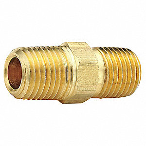 "Brass Hex Nipple, MNPT, 3/8"" Pipe Size (Fittings)"