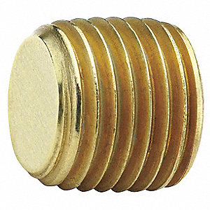 "Brass Hex Head Plug, MNPT, 1/8"" Pipe Size (Fittings)"