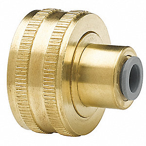"Low Lead Brass Hose to Push Fit Adapter, 3/4"" GHT x 3/8"" Push Fit Connection"