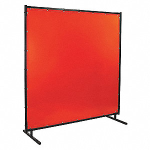 "Transparent Vinyl Welding Screen, 6 ft. H x 6 ft.W x 0.014"" Thick, Orange"