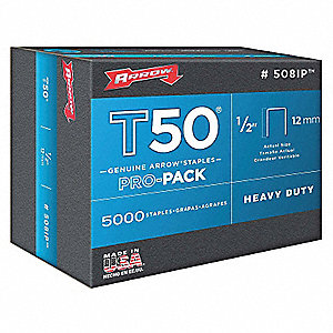 Staples,T50,3/8x1/2 In L,PK5000