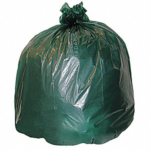30 gal. Green Compostable Trash Bags, Extra Heavy Strength Rating, 48 PK