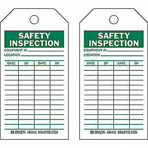 Safety Inspection Tag, 5-3/4 x 3 In, PK100