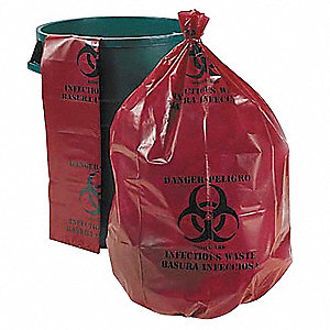 10 gal. LLDPE Super Heavy Trash Bags, Flat Pack, Red, 250PK