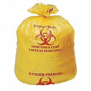 30 to 33 gal. Yellow Hazardous Waste Bags, Super Heavy Strength Rating, 100 PK