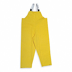 Flame Resistant Rain Bib Overall, PPE Category: 0, High Visibility: No, PVC, 4XL, Yellow