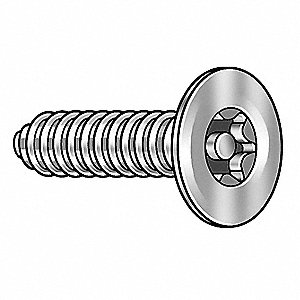 "1"" 18-8 Stainless Steel Tamper Resistant Screw with Flat Head Type and Plain Finish, 25 PK"