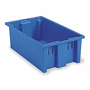 Nest and Stack Container,18 in. L,Blue
