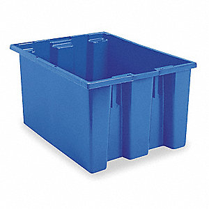 "Stack and Nest Container, Blue, 15""H x 29-1/2""L x 19-1/2""W, 1EA"