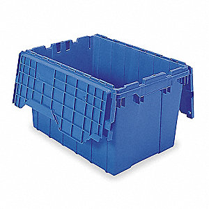 "21-1/2""L x 15""W x 12-1/2""H Industrial Grade Polymer Attached Lid Container, Blue"