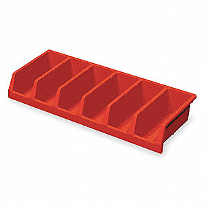 "Compartment Bin, Red, 33"" Outside Length, 12"" Outside Width, 5"" Outside Height"