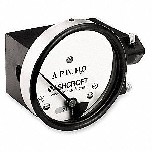 "1/4"" FNPT and MNPT Differential Pressure Gauge with 4-1/2"" Dial, 0 to 100 In. H2O, Aluminum"