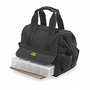Synthetic Tool Bag, General Purpose, Number of Pockets: 14, Black, Tan